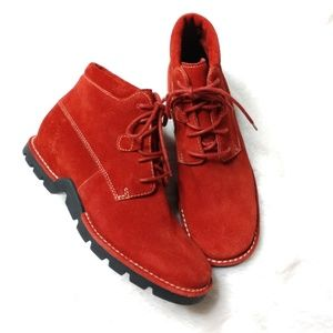 Cole Haan Country Red Suede Waterproof Ankle Boots